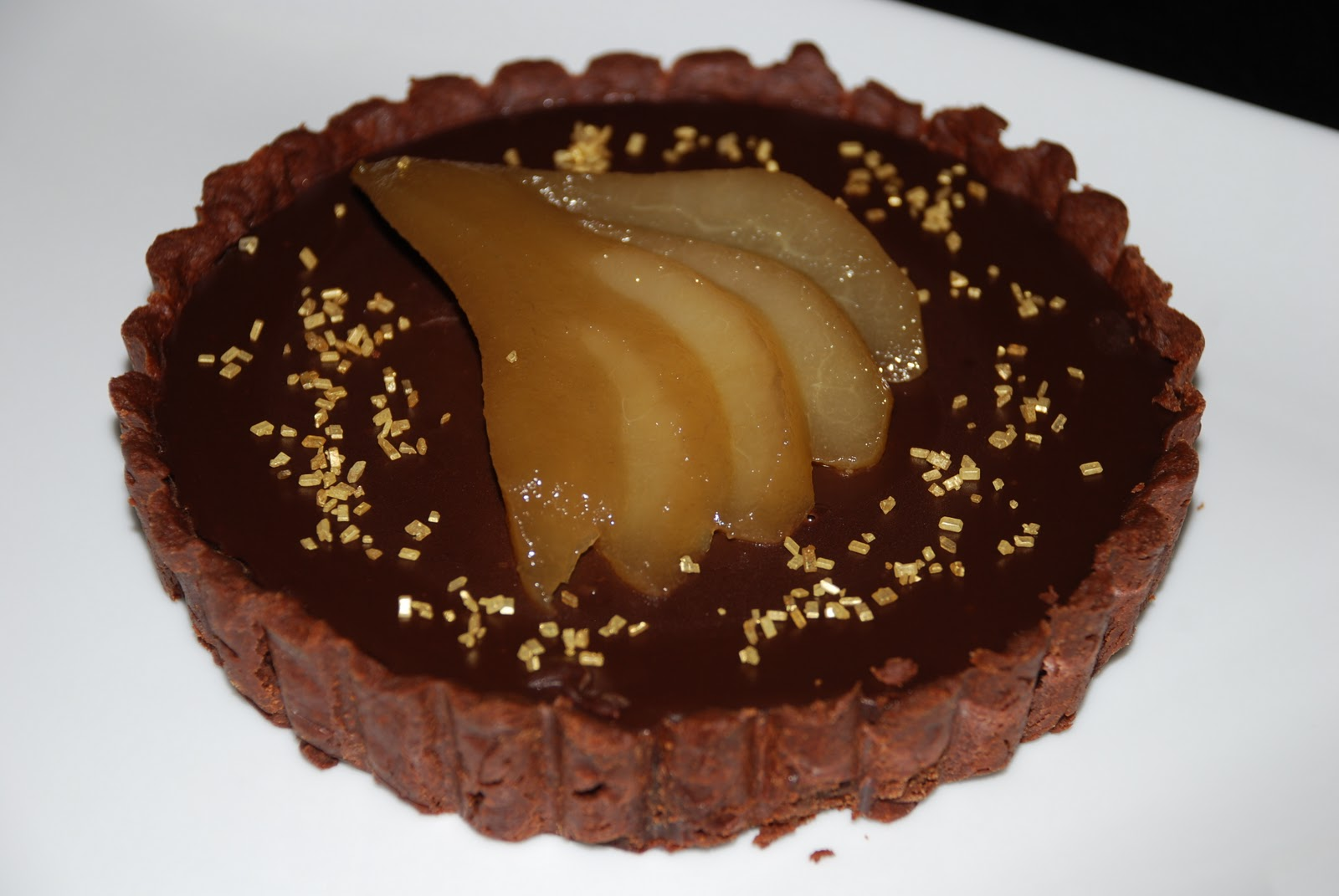 Chocolate Truffle Tart with Tokaji Poached Pear | Good Livin', Good ...