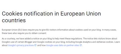 Kebijakan Baru Blogger tentang Cookie yang digunakan di Blog