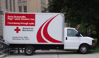 donation truck to haul all of the money we are giving up to the red cross, thanks to page 1 party contributions