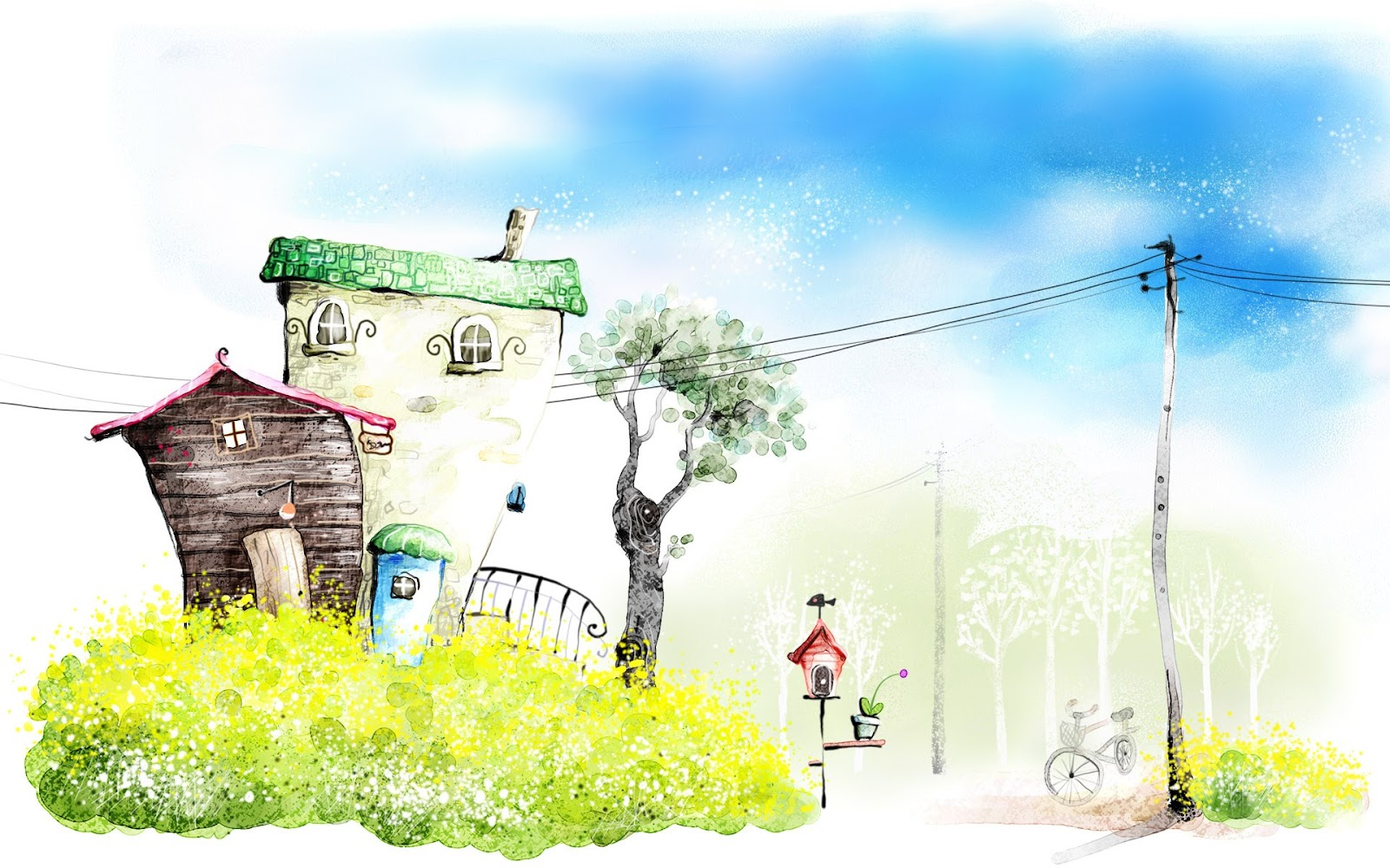 Let 39 s push game art drawing romantic scene of for Wallpaper home cartoon