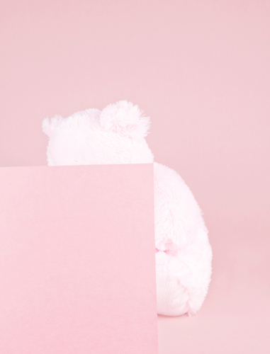 Pink covered teddy bear