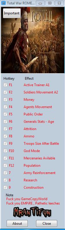 Total War ROME II V1.10.0 Steam Trainer +15 MrAntiFun