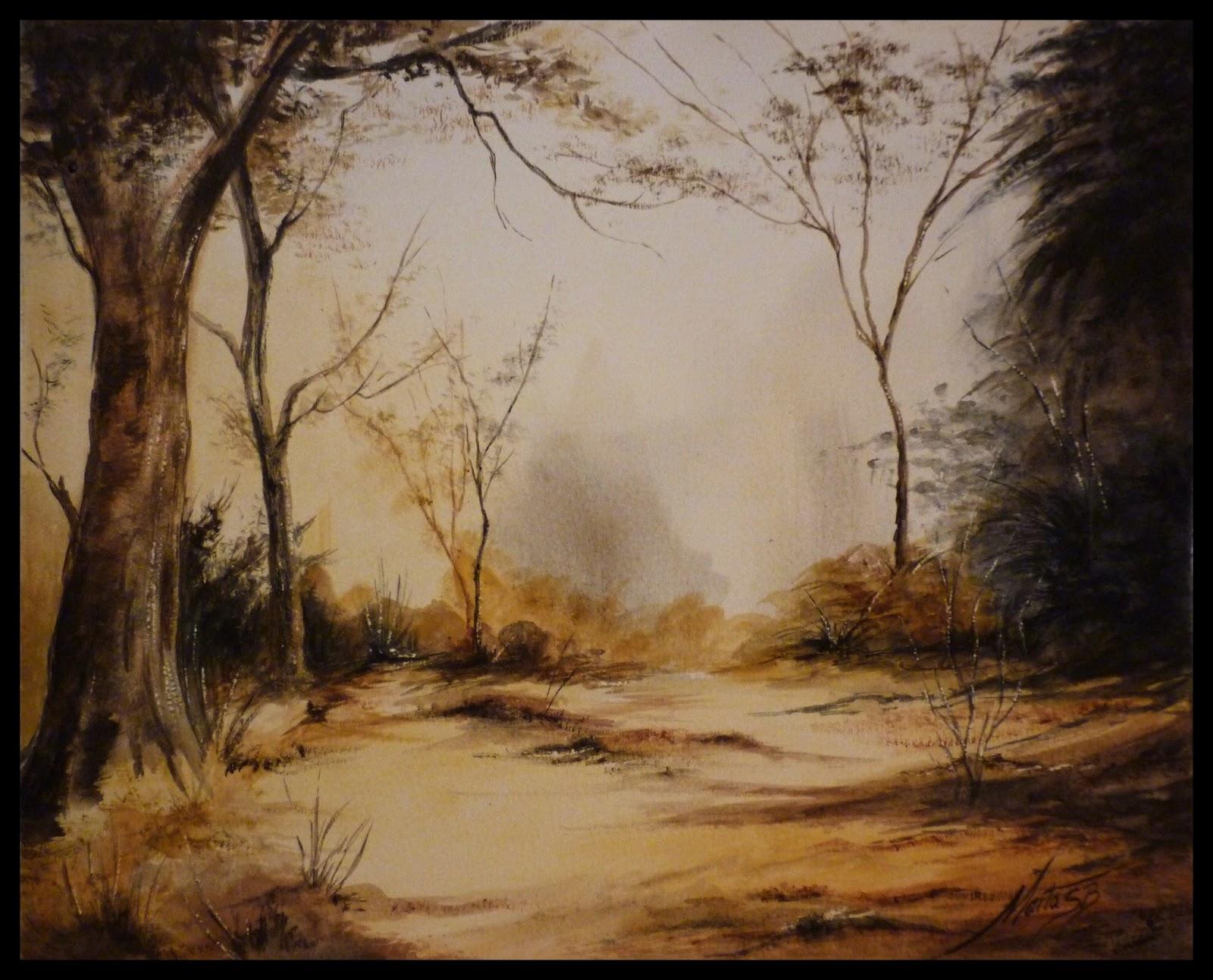 Camino perdido es un cuadro pintado con pinturas acuarela