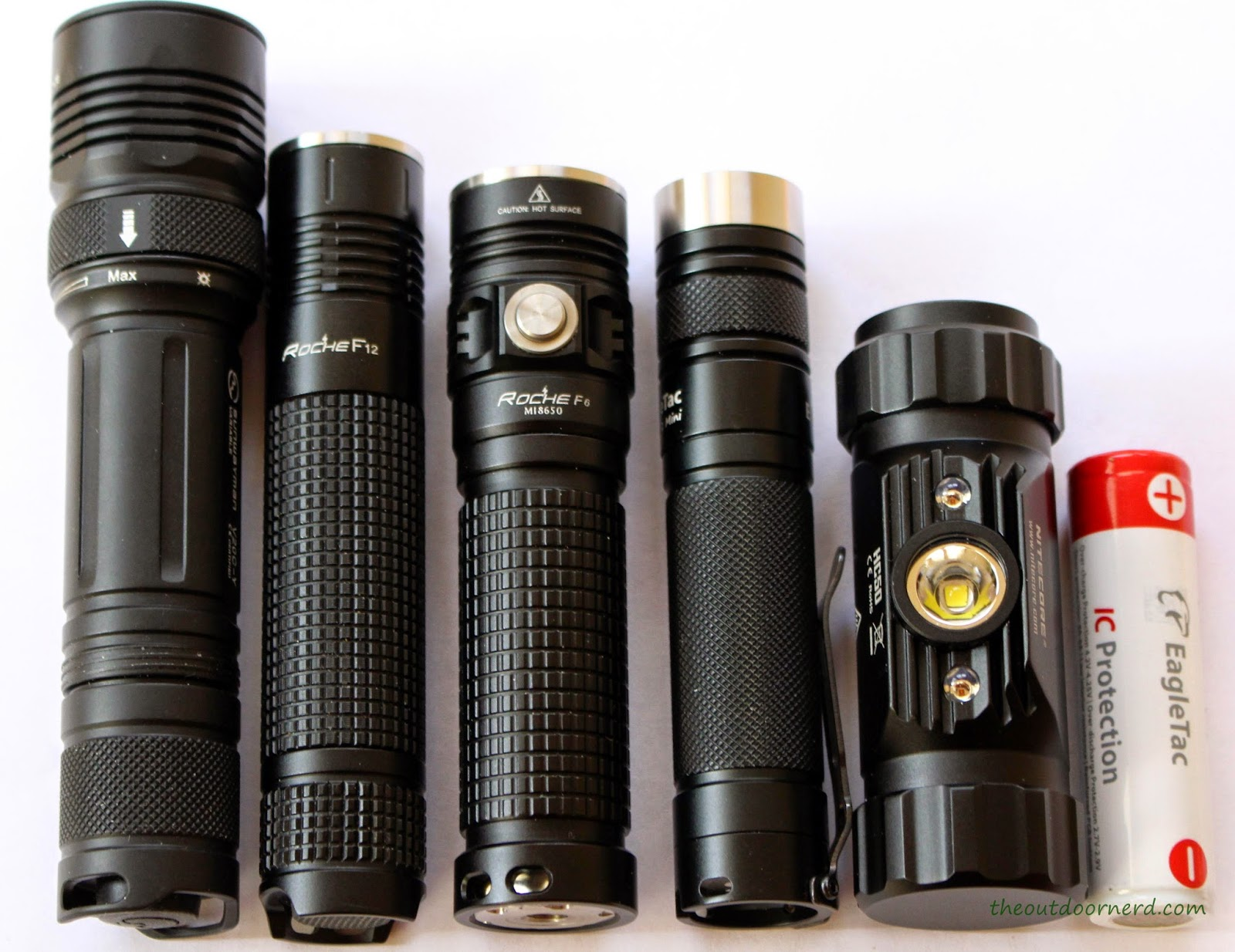 From Left: Sunwayman V20C, Roche F6, EagleTac D25LC2, Nitecore HC50 Headlamp, EagleTac 3100 mAh 18650 li-ion
