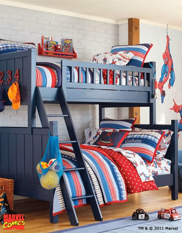 Themed kids bedroom design superhero nunudesign for Man u bedroom ideas