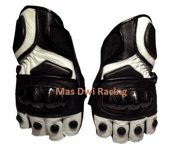 Sarung Tangan Touring Kulit Model Pendek Hitam Putih | Mas Dwi Racing