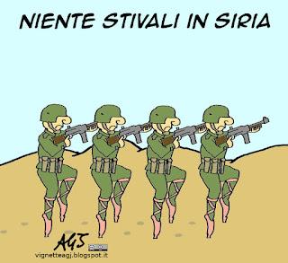 Gentiloni, Siria, esercito italiano, boots on ground, vignetta satira