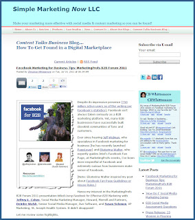 Content Talks Business Blog on SimpleMarketingNow.com