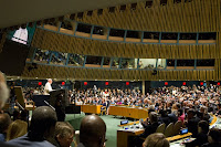 Pope Francis addressing the U.N. General Assembly. (Credit: Rick Bajornas/U.N.)  Click to Enlarge.