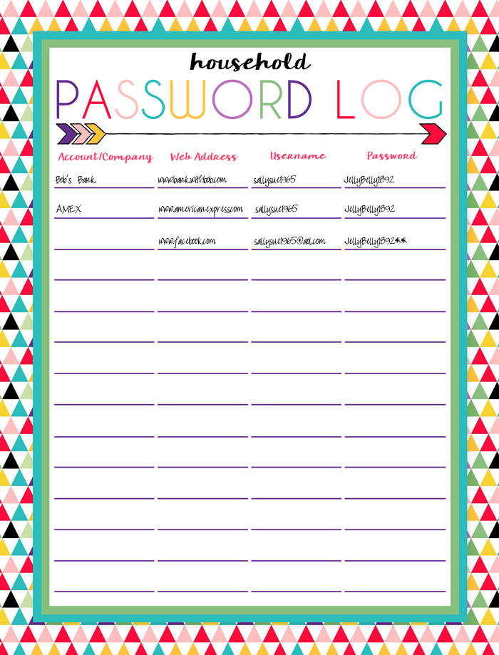 It's just a picture of Breathtaking Password Sheet Printable