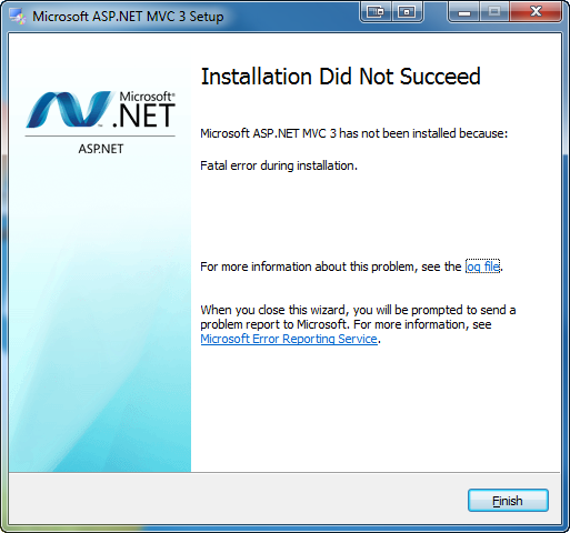 William's Blog: Error 0x80070643 installing ASP NET MVC 3 / MVC 3