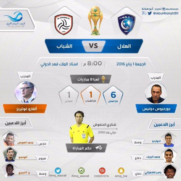 بث مباشر مباراة الهلال و الشباب اليوم الجمعة 2016/1/1