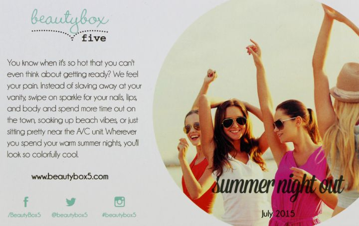 Unboxing | Beauty Box 5 July 2015: Summer Night Out info card