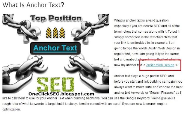 OneClickSEO - Anchor Text