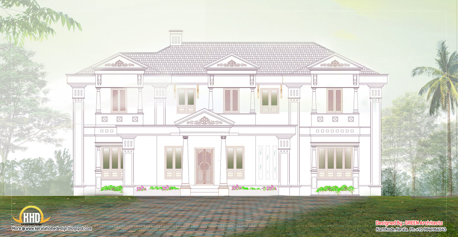 Luxury Villa 2D elevation - 3456 Sq. Ft. (321 Sq.M.) (284 Square Yards ...
