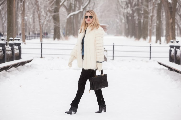 Central Park winter wonderland, snow, white fur coat, black brocade pants, Pour la Victoire boots