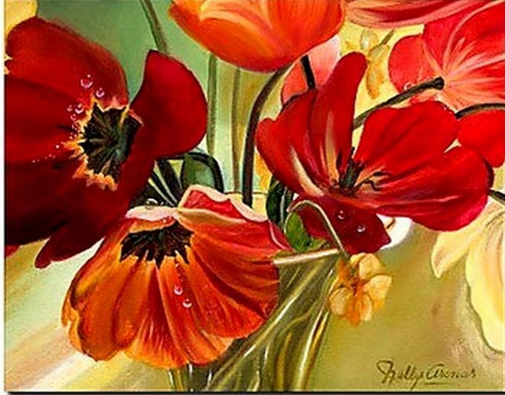 arte cuadros modernos flores rosas rojas naturalezas muertas de flores
