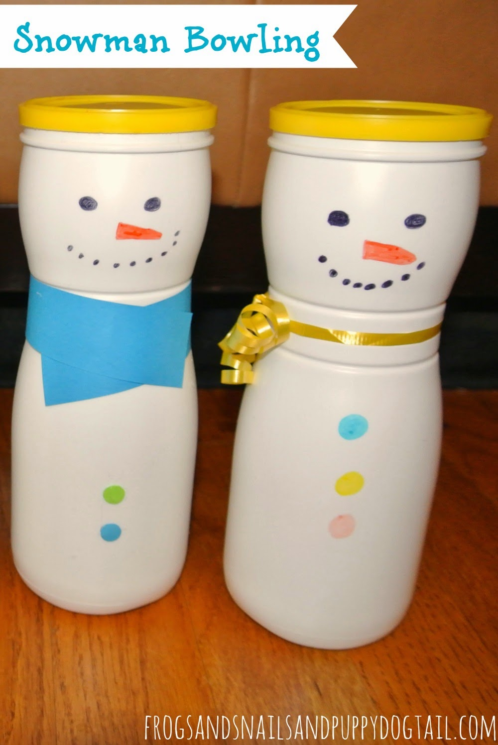Snowman Bowling with sock snowballs for Kids on FSPDT