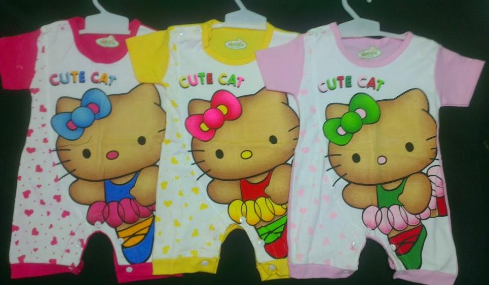 Romper Pendek Motif Hello Kitty