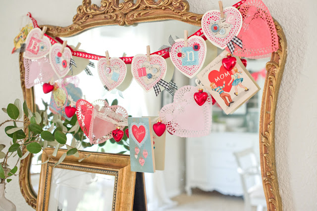 Domestic fashionista vintage and handmade inspired for Valentine day decorations for home