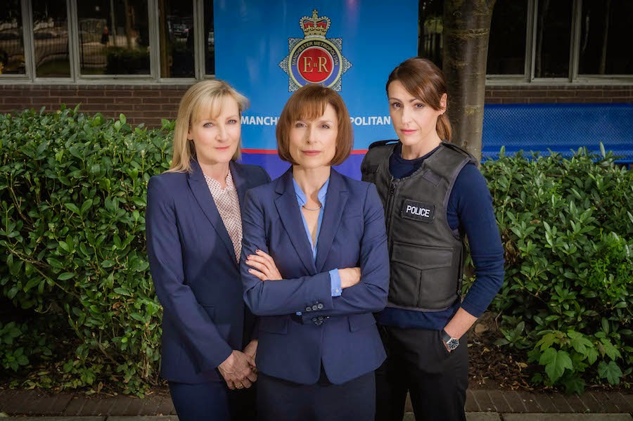 LESLEY SHARP as DC Janet Scott and AMELIA BULLMORE as DCI Gill Murray and SURANNE JONES as DS Rachel Bailey