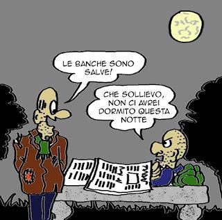 Banche, decreto salvabanche, Boschi, economia, vignetta satira