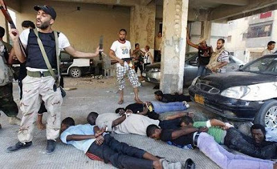 NATO Terrorists Execute Civilians While Waiting for Syrian Army LibyaRebelsRoundingUpBlacks
