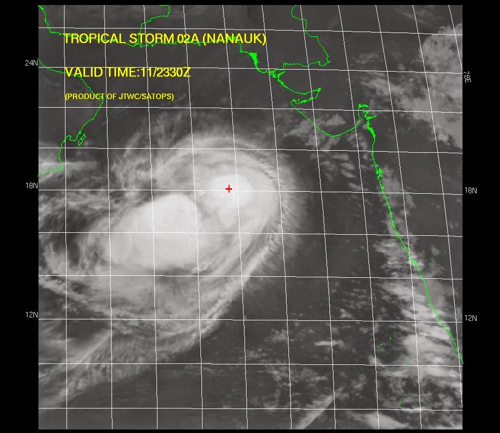 Satélite Aqua de la NASA captói imágen del ciclón tropical Nanauk el 11 de junio