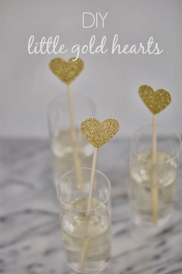 DIY, gold hearts, valentine's day