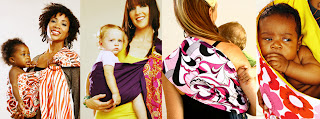 Rockin' Baby Sling displayed in different styles.  A good choice for baby slings