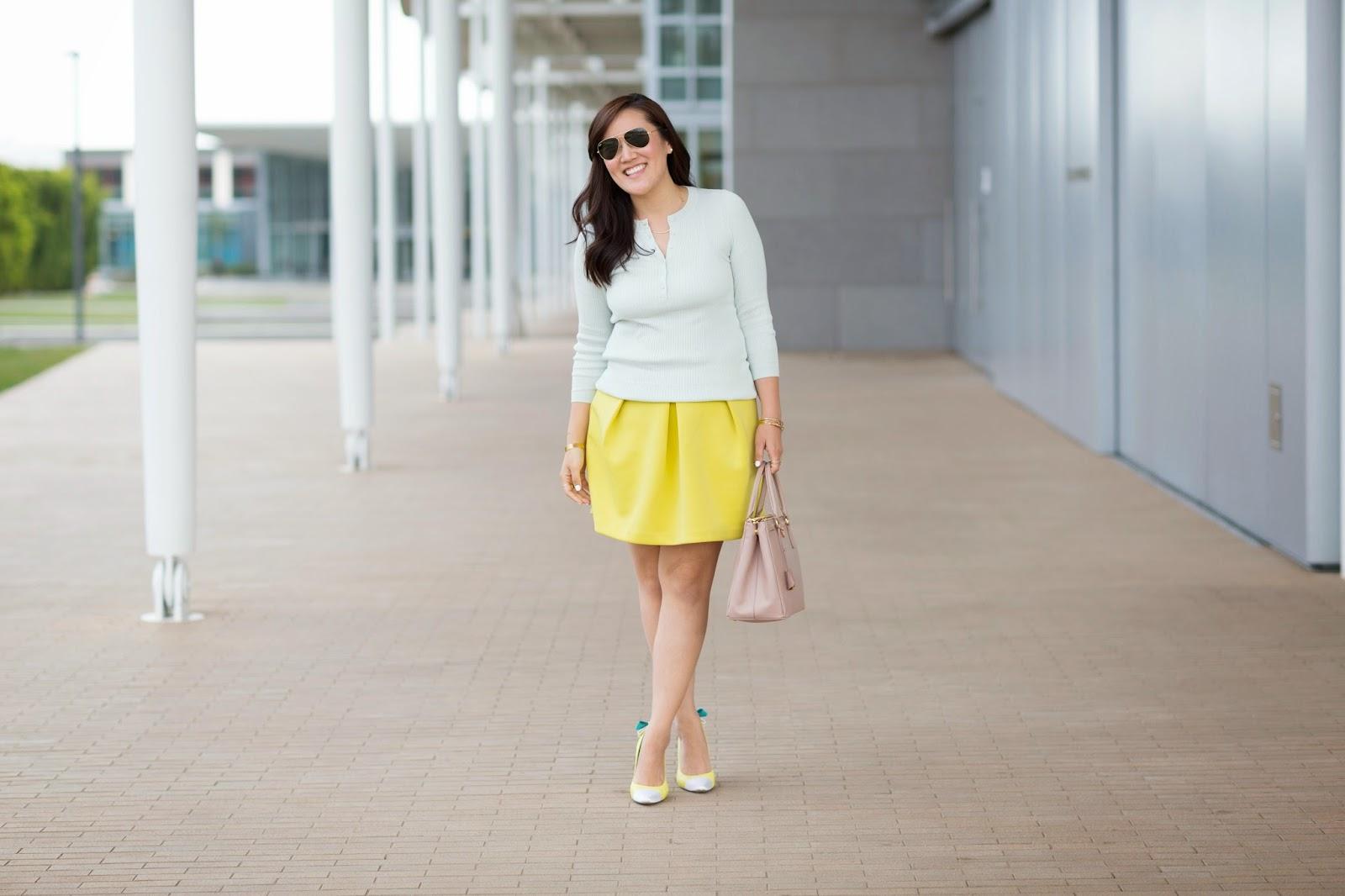 simplyxclassic, mint top, yellow skirt, prada bag, gap, asos, orange county, fashion blogger