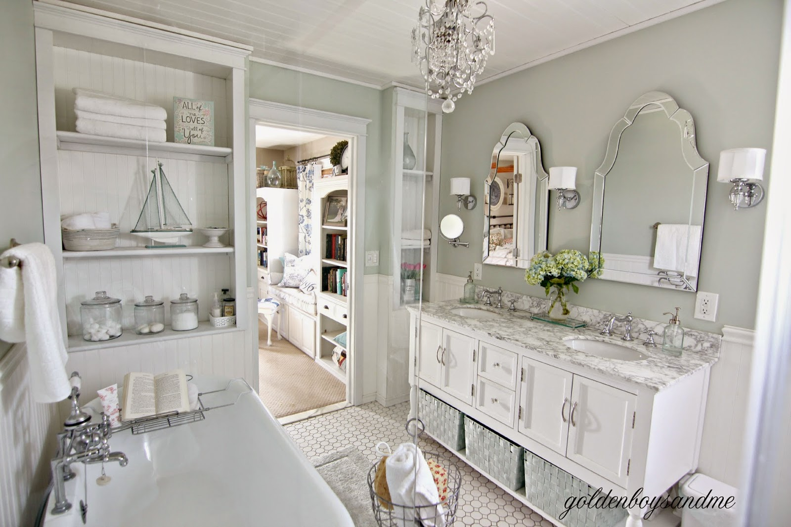 DIY master bathroom with pedestal tub, chandelier, and built ins-www.goldenboysandme.com