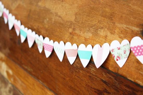 Guirnalda de corazones con washi tape