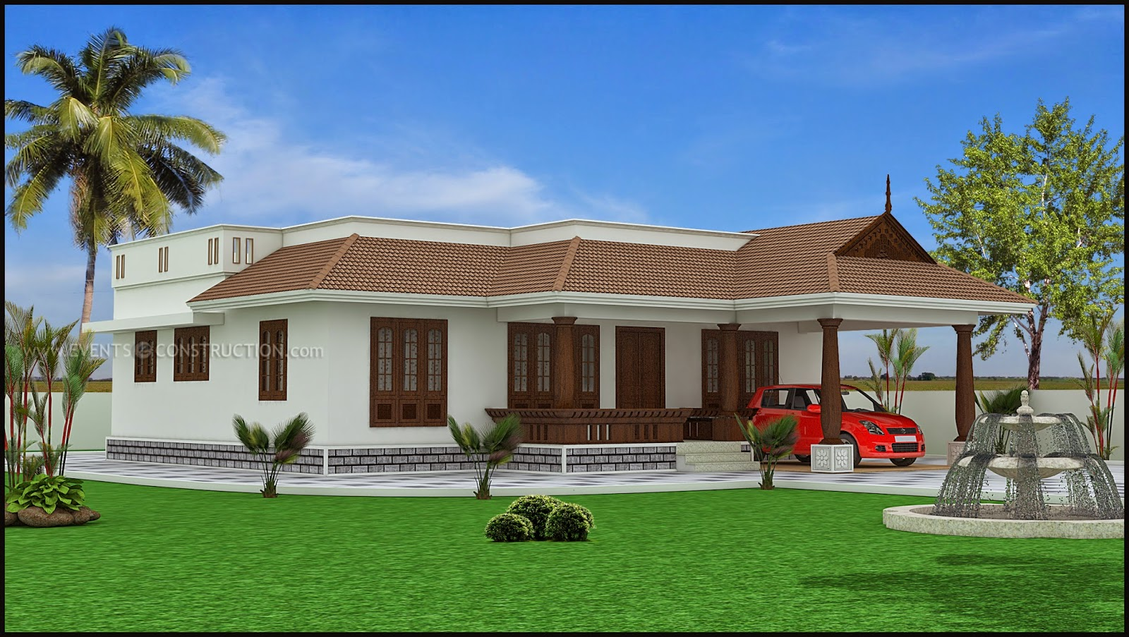 Evens construction pvt ltd single storey kerala house design for Single storey house plans
