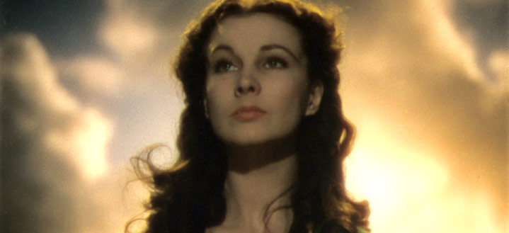 Vivien Leigh as Scarlet O'Hara with the sun behind her in Gone with the Wind movieloversreviews.filminspector.com