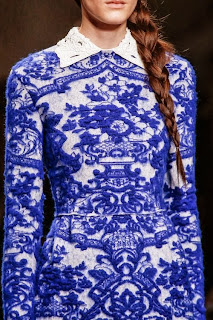 delft blue inspired dress by italian couturier Valentino