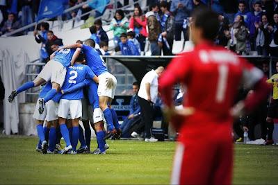 Los jugadores del Real Oviedo celebrando el gol ante el Albacete