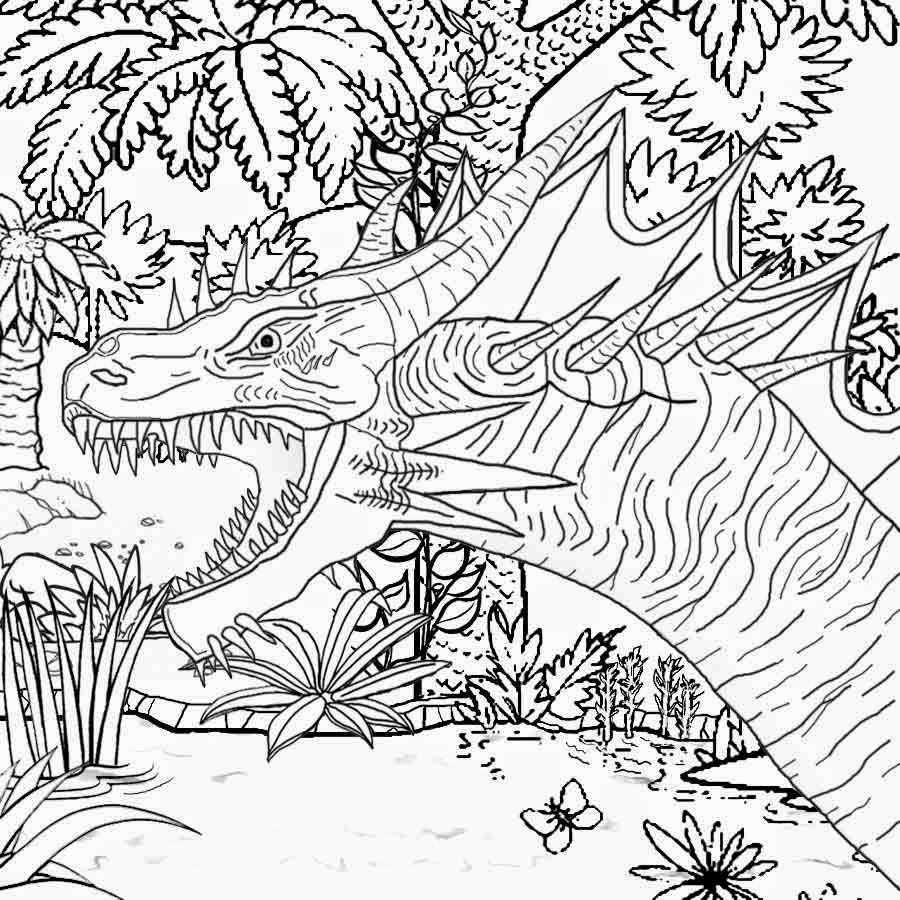 Coloring pages dinosaurs and dragons - Free Prehistoric Forest Volcano Land Monster Dinosaur Printable Image For Older Children To Colour