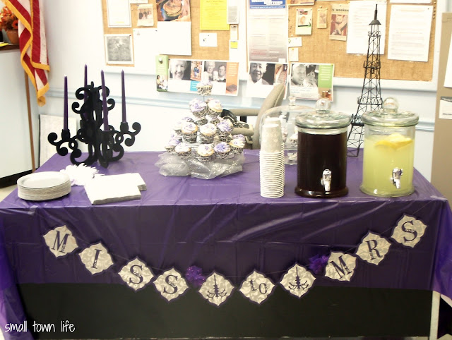 purple & silver bridal shower, bridal shower photo prop, bridal shower banner
