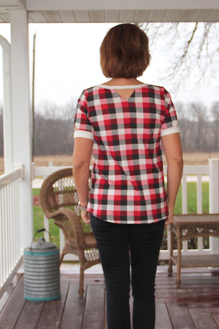 Indiesew Neptune tee with triangle cutouts using a plaid knit  back view
