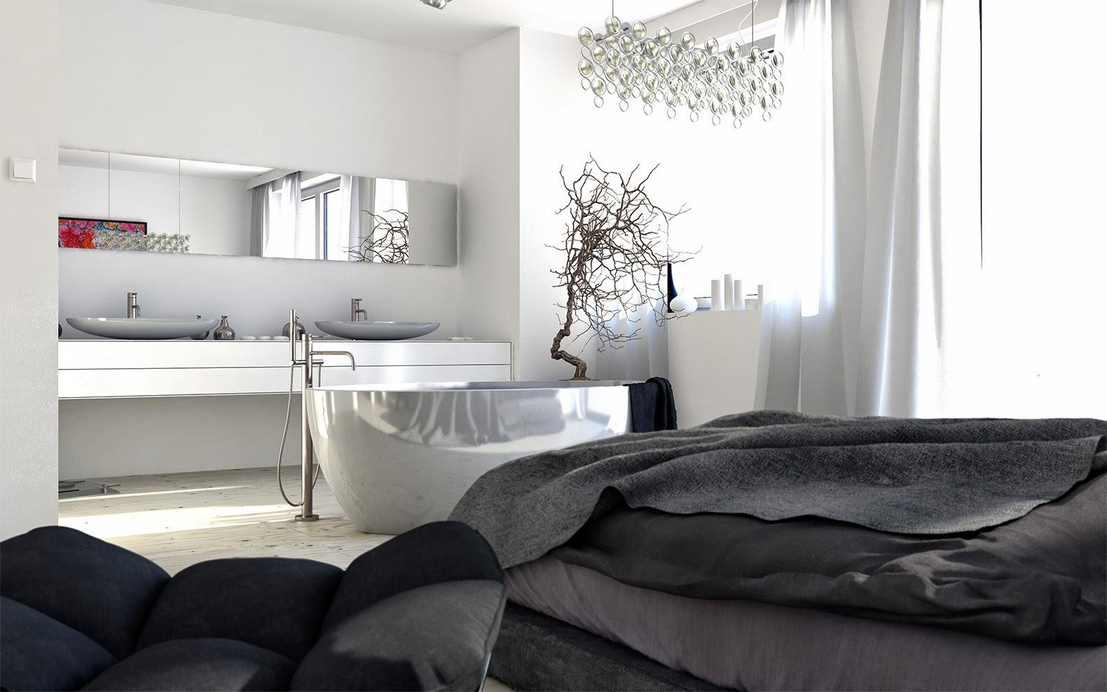 Bañeras en casa - bañera moderna en habitación