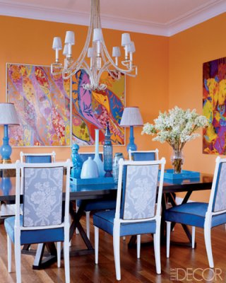 Victoria dreste designs orange in the year of pink for Orange dining room design ideas