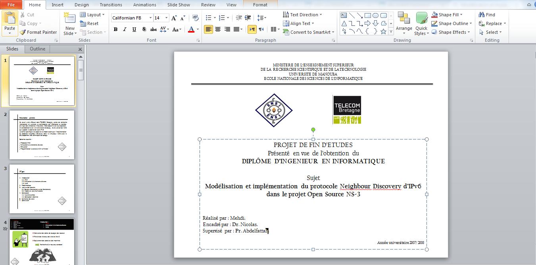 Exceptionnel PPT 2016] Exemple d'un template PowerPoint pour une soutenance  TU82