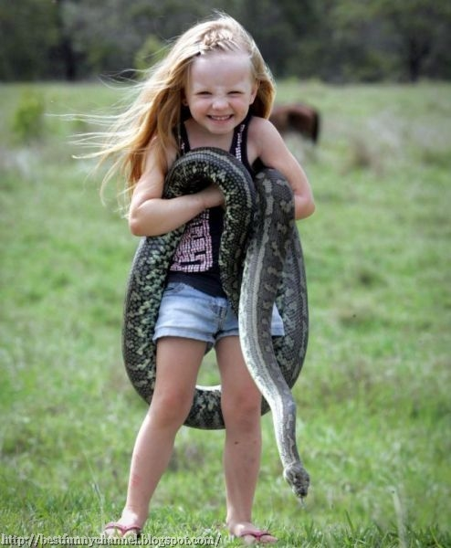 Small baby and boa constrictor.