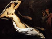 1835, Ary Scheffe, les fantômes de Paolo et Francesca apparaissent devant Dante et Virgile