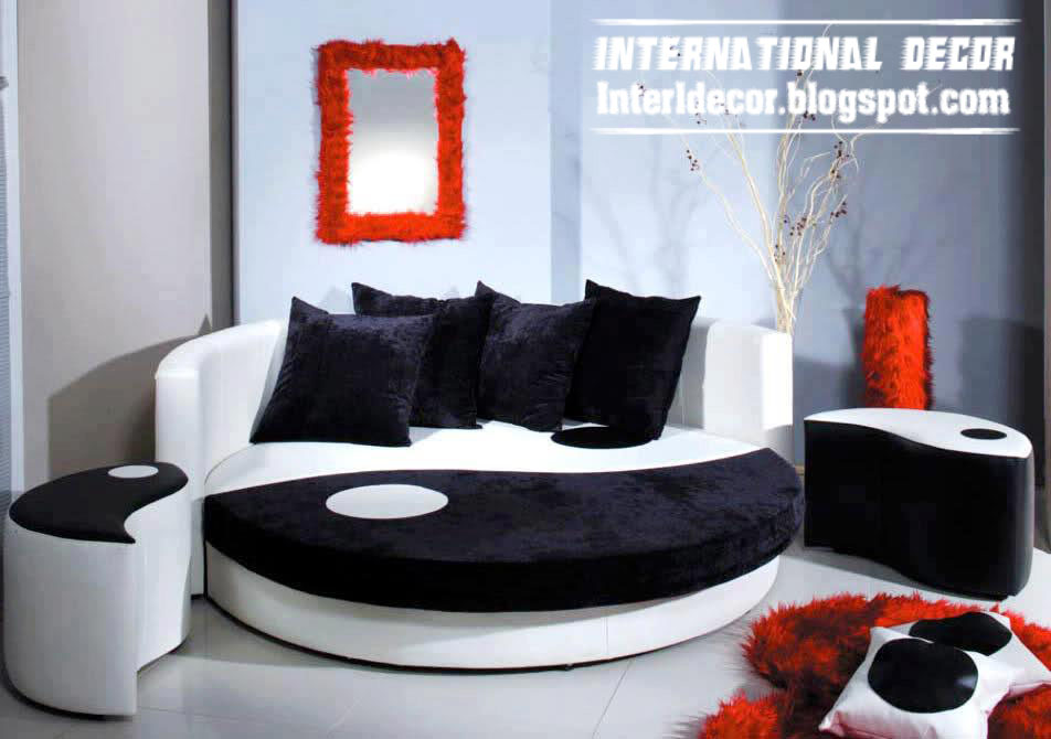 circular bed furniture model in black and white colors - Circle Beds Furniture
