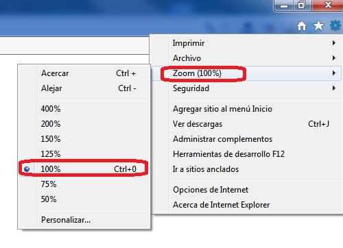 Menu configuracion Internet Explorer
