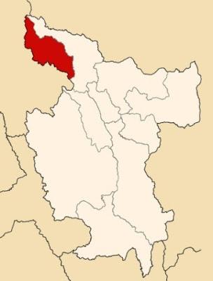 Mapa de la Región San Martín (Perú) que resalta la provincia de Rioja