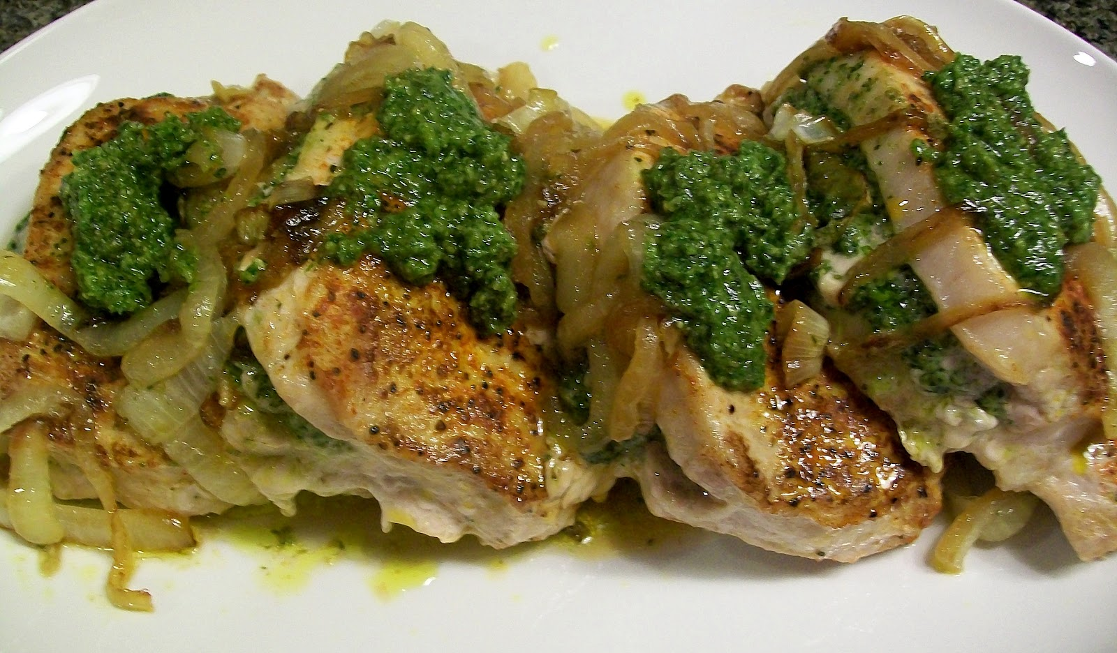 Bobbi's Kozy Kitchen: Pesto Stuffed Pork Chops