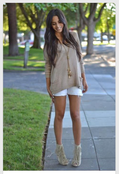fringe heels with shorts